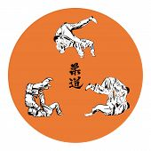 stock photo of judo  - Six wrestlers judo on a red background - JPG