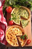 stock photo of leek  - leek quiche and quiche lorraine - JPG