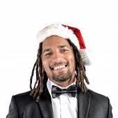 picture of rasta  - A smiling businessman with rasta celebrates Christmas - JPG
