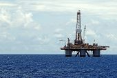 stock photo of drilling platform  - sea oil platform with a drilling rig in the area of Congo - JPG