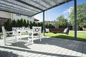 picture of swing  - Beautiful patio with swing in the garden - JPG