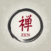 image of budha  - zen circle with calligraphy signs asian art - JPG