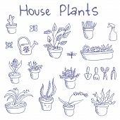 stock photo of cactus  - Big set of  liner pen hand drawn doodle outline housplants and flowers in pots  - JPG
