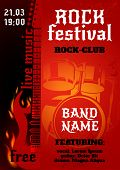 foto of drums  - Rock music group concert or festival poster with burning guitar and drums vector illustration - JPG
