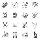 picture of scalpel  - Medical dental instruments and accessories black icons set with surgery scalpel and forceps abstract isolated vector illustration - JPG