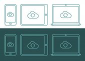 foto of inverted  - Vector illustration of linear style cloud computing icons - JPG