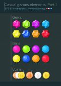picture of gem  - Vector set of casual games elements - JPG