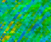 stock photo of low-light  - low poly triangle light green and blue mosaic background - JPG