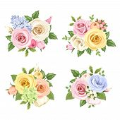 foto of orange blossom  - Set of four vector bouquets of pink - JPG