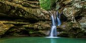 stock photo of waterfalls  - The Upper Falls of Hocking Hills State Park in Ohio - JPG