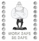 image of ppe  - Monochrome construction manufacturing and engineering health and safety related sign isolated on white background - JPG