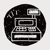 picture of cash register  - Cash Register Doodle Drawing - JPG