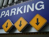 pic of parking lot  - parking entrance with arrows - JPG