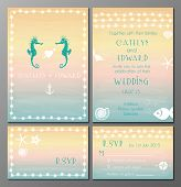 picture of marines  - Vector illustration of marine style wedding invitation and rsvp cards - JPG