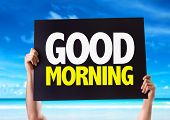 image of morning  - Good Morning card with beach background - JPG