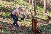 stock photo of ax  - woodcutter cut a trunk with an ax in forest - JPG