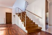 picture of staircases  - Image of wooden staircase in front hall - JPG