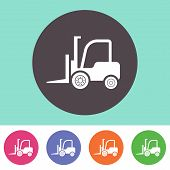foto of lift truck  - Vector forklift truck icon on round colorful buttons - JPG