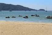 picture of jet-ski  - Jet Ski Moored in the sea of Patong beach Phuket Thailand - JPG