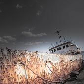 stock photo of shipwreck  - Shipwreck at the pier - JPG