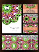 picture of indian wedding  - Set of business card and invitation card templates with lace ornament - JPG