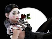 picture of clown rose  - 3D computer graphics of a Pierrette with a rose in her hand - JPG