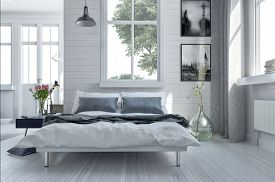 pic of 3d  - Double divan bed in a light spacious upmarket modern bedroom with large windows and artwork on the walls in grey and white decor - JPG