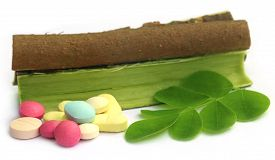 stock photo of malunggay  - Moringa leaves and bark with pills over white background - JPG