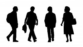 stock photo of ordinary woman  - silhouettes of ordinary senior men and women walking outdoor front and profile views - JPG