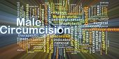 image of circumcision  - Background concept wordcloud illustration of male circumcision glowing light - JPG