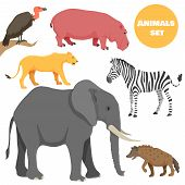 Cute african animals set for kids in cartoon style. Suitable for logotype or emblem. poster