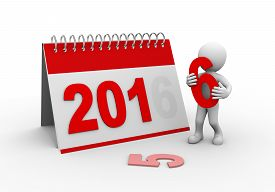 picture of 3d  - 3d rendering of man completing calender of new year 2016 - JPG