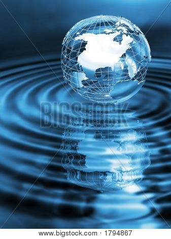 Picture or Photo of Wireframe globe on rippled water with reflection