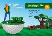 Golfer Standing On Half Golf Ball. Golf Ticket Horizontal Brochure Template poster