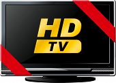 foto of lsd  - Modern LSD HD TV with a red ribbon and the words HD isolated on white - JPG