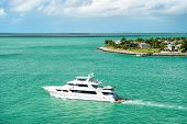 Touristic Yacht Floating Near Green Island At Key West, Florida poster