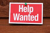 stock photo of soliciting  - Red and White Help Wanted Sign on wood - JPG