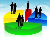 picture of pie-chart  - Business people on pie chart - JPG