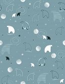 pic of polar bears  - Seamless vector pattern displaying a cute polar bear and a lot of snow - JPG