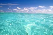Постер, плакат: красивый синий горизонт волна воды Карибского моря