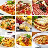 stock photo of meatballs  - Collage of various Italian dishes - JPG