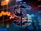 Dollar Sign On Abstract Financial Technology Background . poster