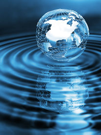 picture of world-globe  - Wireframe globe on rippled water with reflection - JPG