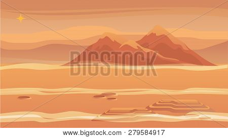 Panorama Mountain Landscape Red Planet