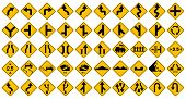 Collection Of Warning, Prohibition And Information Yellow Traffic Signs For Drive Safety On Highway  poster