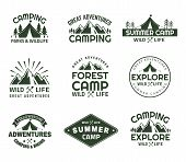 Set Of Isolated Mountain In Forest Signs For Camping Club. Peaks For Journey Emblems, Rocks For Yell poster