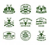Set Of Outdoor Camping Badges With Deer Head And Guns. Isolated Signs With Antlers And Guns, Hunt Ri poster