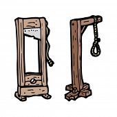 stock photo of hangmans noose  - gallows cartoon set - JPG