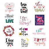 Love Lettring Vector Lovely Calligraphy Lovable Sign To Mom Dad Iloveyou On Valentines Day Beloved C poster