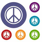 Sign Hippie Peace Icons Set In Flat Circle Reb, Blue And Green Color For Web poster